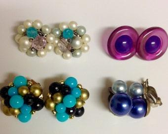 Lot of Vintage Beaded Earrings   Vintage Cluster Earrings   Beaded Clip On Earrings