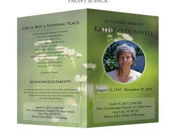 Funeral Program Template - Obituary Template - Photoshop PSD *INSTANT DOWNLOAD*