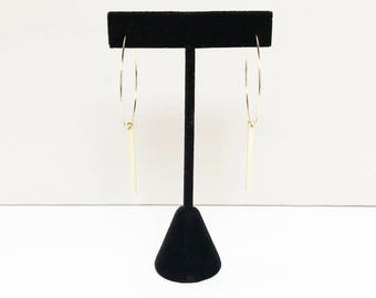 SALE - Minimal Gold Hoop Earrings with Bar Detail - SOLD OUT, Made-to-order...