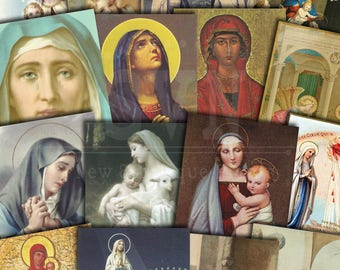 Virgin Mary ATC CARD - Holy Cards - Digital Collage Sheet Printable download