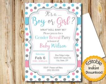 "Baby Shower Invitation, Gender Reveal, INSTANT download, EDITABLE in Adobe Reader, DIY, Printable, 5""x7"""