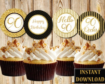 Elegant 90th Birthday Cupcake Toppers, Black and Gold, Labels, Party Favors, Printable, Instant Download, PDF and JPG