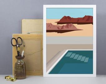 Nevada Desert Pool Art Print - A3, A4 Size - USA Travel Poster - Modern - Minimal - Graphic Art - Illustration - Home Decor Wall Art