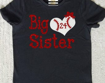 Baseball Big Sister Heart Shirt Personalized With Number
