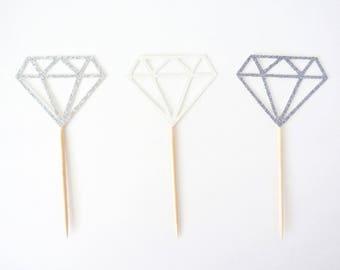 Glitter Diamond Cupcake Toppers - Set of 12 - Wedding Decor, Bridal Shower Decor, Bridal Shower Cupcake Toppers, Bachelorette Party Decor