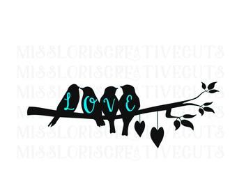 Love Birds and a branch  SVG Cut file  Cricut explore file Love Wedding   sign decalscrapbook vinyl decal wood sign t shirt cricut cameo