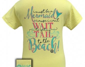 "GirlieGirlOrginal ""Must be a mermaid"" Mermaid Tee"
