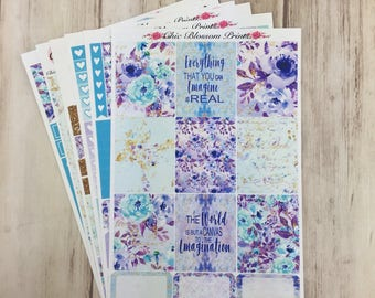Lavender Teal Floral Collection, Weekly, Kit, Erin Condren, Happy Planner, Plum Planner, Planner Stickers, Plan with Me, ChicBlossomPrints