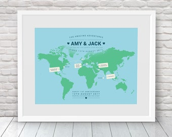 Surprise trip gift, Special holiday gift, Surprise birthday gift, Birthday keepsake, Birthday Memory, Travel Memories, Travelling gift, Map