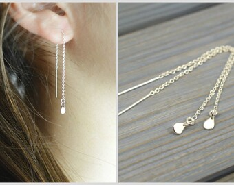 Teardrop threaders, Raindrop jewelry, Tiny raindrop dangles, Silver Teardrop earrings, Threader Earrings, Pull-through earrings, 925 silver