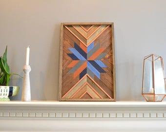 Wood wall art, brown/blue/natural/orange/rust/copper/navy/gray, burst, decor, panel, pine, cedar, lath 18in x 24in