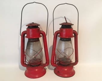Vintage 1970's Red Oil Lanterns, set of two