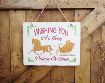 """WISHING YOU a MERRY Vintage Christmas.... Holiday, Rustic, Country, Decorative Wooden Sign, 9.25"""" X 12"""", Home Decor, Holiday Decor"""