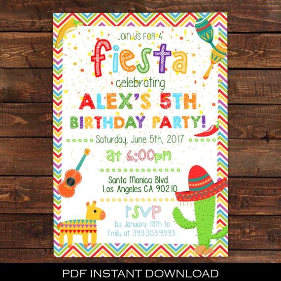 fiesta invitation mexican party invitation fiesta birthday