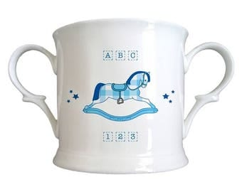 Blue Rocking Horse Bone China Loving Cup