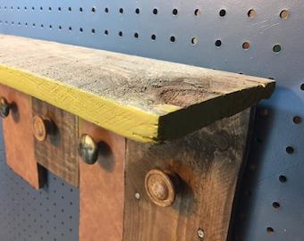 Reclaimed Wood Bathroom Shelf with Hooks, Rustic Coat Rack,Reclaimed Wood Open Shelf,Open Wooden Shelves,Entryway Shelf, Open Shelf Bathroom