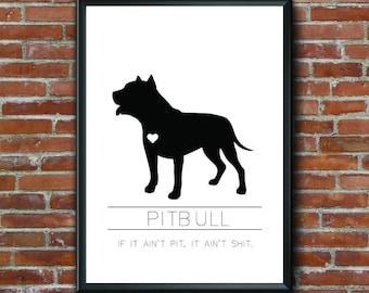 Pitbull Printable Art, Dog Art, Pet Art, Wall Art, Home Decor, Digital Art, Pitbull, Pit, Dog Lover