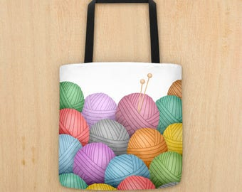 Knitting Needles And A Pile Of Yarn - Tote Bag - Fun Knit Totes Pattern Of Yarn Balls Needle Wool Knitter Tools Knitted Knits Knitters Gift