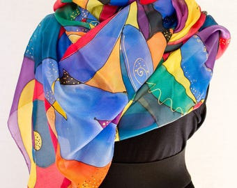 Hand-painted silk scarf ; red blue and yellow ; an object suitable for an anniversary ; or birthday ; stole colored silk squares
