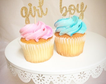 Gender reveal-cupcake toppers- boy or girl-gold glitter-blue and pink-PLEASE READ ITEMSDESCRIPTIONS