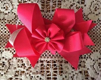 One (1) Pink Handmade Hair Bow