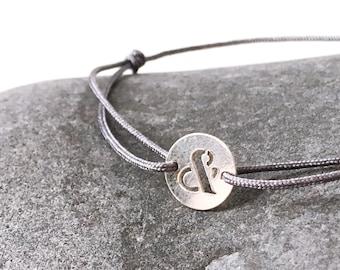Sterling silver &, And, Ampersand medal bracelet love and friends Bracelet DARK GREY thin cord Bracelet Lucky jewelry Friendship bracelet