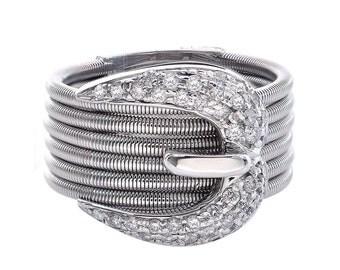 0.75 Carat Round Cut Belt Buckle Womens Ring Diamond Ring 14K White Gold