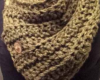 Chunky Crochet Button Cowl in Olive Green
