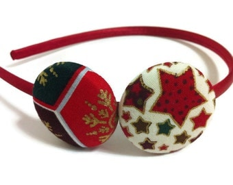 Buttons fabric, Buttons headband, Red, Girl gift, Satin headband, Hair headband, Chic girls, Woman headband, Hair accessory, Green, Golden