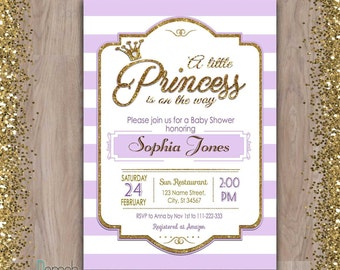 Princess Baby Shower invitation, purple baby shower invitation, purple and gold baby shower invitation, baby shower invitation princess girl