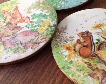 Vintage Round Garden Nature Squirrel Butterfly Trees Coaster set of 3 Cork Retro Round Green Orange Woodland Tea Party Folk Whimsical Coffee