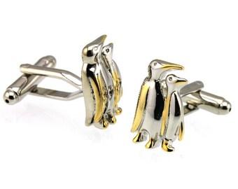 Penguin Gold Silver Cufflinks  -B80 Free Gift Box**