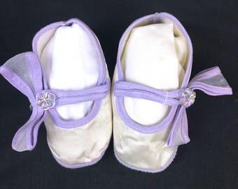White satin baby shoes – Etsy