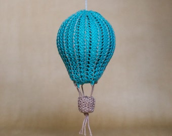 "Hot air balloon knitted nursery decor ""Pinstripe"""