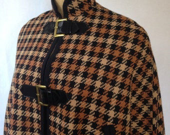 1970s plaid wool and vinyl cape by SABA CALIFORNIA