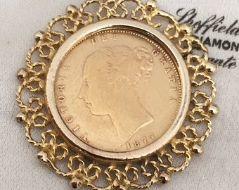 Very rare Antique 9ct gold Tiffany & Co mount with 22ct half sovereign - 1877