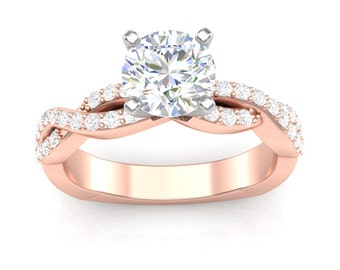 Rose Gold Engagement Ring Infinity Shank Ring 0.30 ct Round Diamonds Adjustable Head Semi Mount Brand New 14K Setting Only or Moissanite