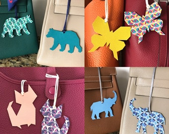 NEW! Double-Sided Leather/Fabric Origami Collection Bag Charms