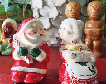 Vintage Kissing Santa + Mrs. Clause Salt + Pepper Shakers