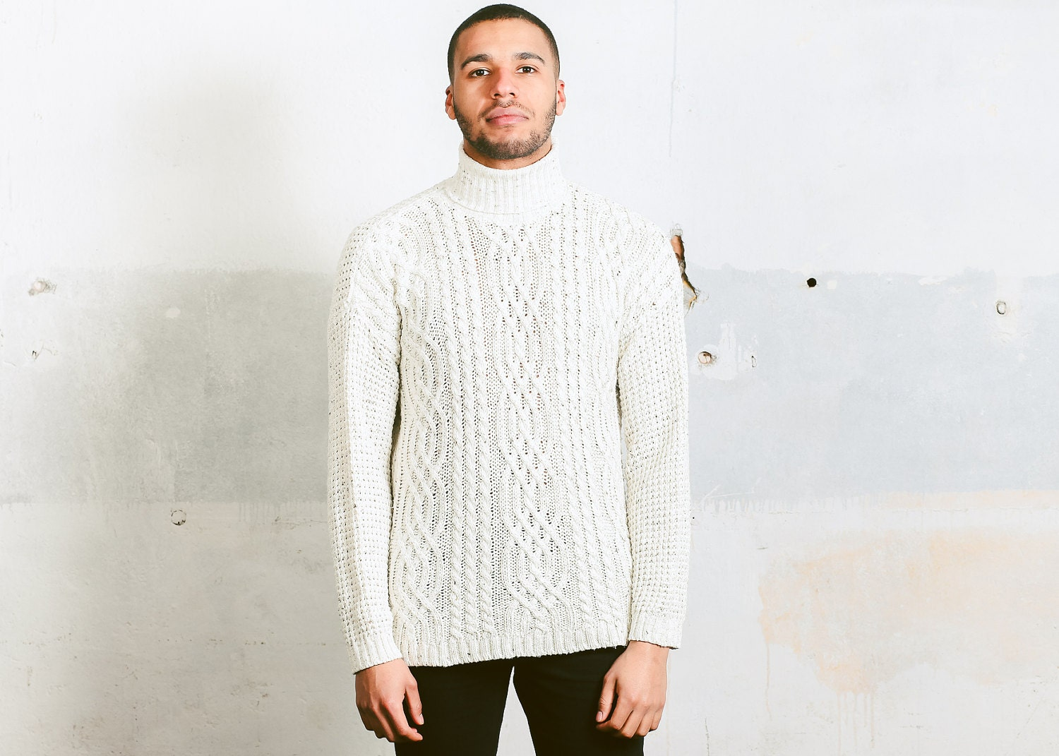 White Turtleneck Sweater . Vintage 90s Mens Knitted Sweater High ...