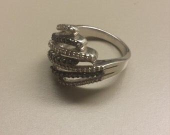 Sterling Silver Ring With White and Black Diamonds