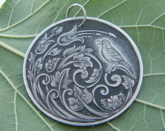 "Hand-Engraved Sterling Silver ""Signs of Spring"" Pendant"