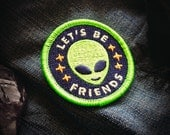 "Friendly Alien Patch - Metaphysical Fashion Accessory - 2"" Iron On Embroidered Patch - Neon Green - Extra Terrestrial Starseed Conspiracy"