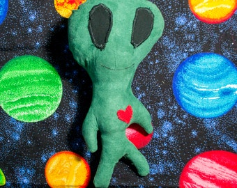 Green Stuffed Alien Small Handmade Soft Outerspace Toy, Gift