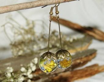 Blue Flower Earrings Resin Jewelry Gift, Yellow Flower Dangle Earrings Art Jewelry, Resin Earrings Rustic Nature Inspired Jewelry Boho Gift