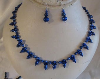 Dark Blue Freshwater Pearl Choker w/Matching Earrings