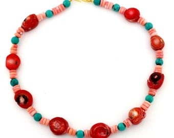 Bamboo Coral and Turquoise Necklace  KC3519