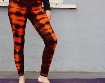 Halloween Leggings Large American Apparel Leggings orange and black tie dye leggings striped leggings holiday leggings