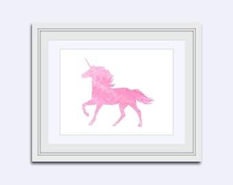 Unicorn printable - pink unicorn print - Watercolor print - unicorn wall art - girls Nursery decor - girls room art - unicorn Room Decor