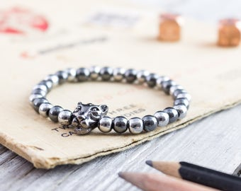 6mm - Hematite beaded gunmetal black Leopard stretchy bracelet with silver plated hematite beads, mens bracelet, womens bracelet